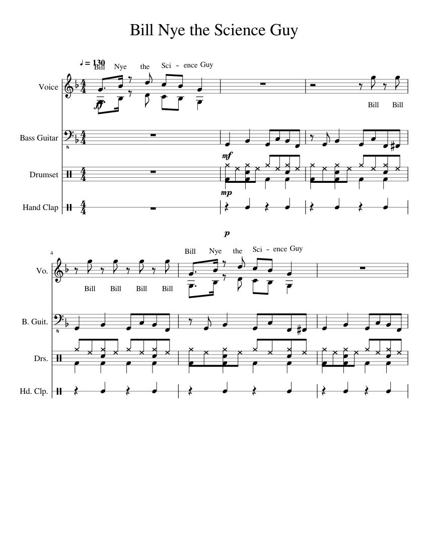 bill nye the science guy theme sheet music download free in pdf or midi