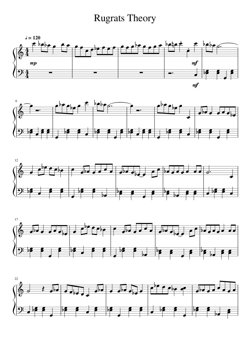 Rugrats Theory Sheet Music 1 Of 5 Pages