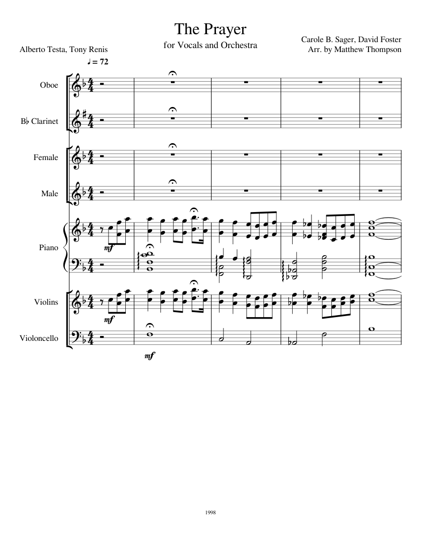 the prayer (vocals and orchestra) sheet music for piano, violin, clarinet  (in b flat), cello & more instruments (mixed ensemble) | musescore.com  musescore.com