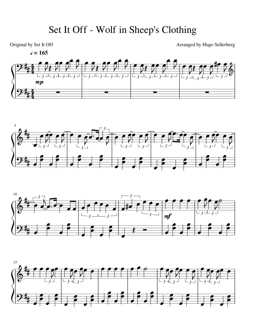 Update Set It Off Wolf In Sheeps Clothing Sheet Music For Piano