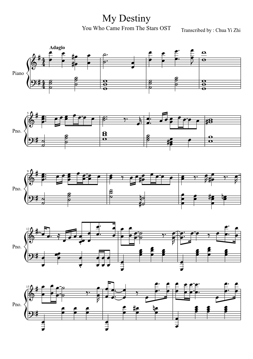 My Destiny You Who Came From The Stars Ost Sheet Music