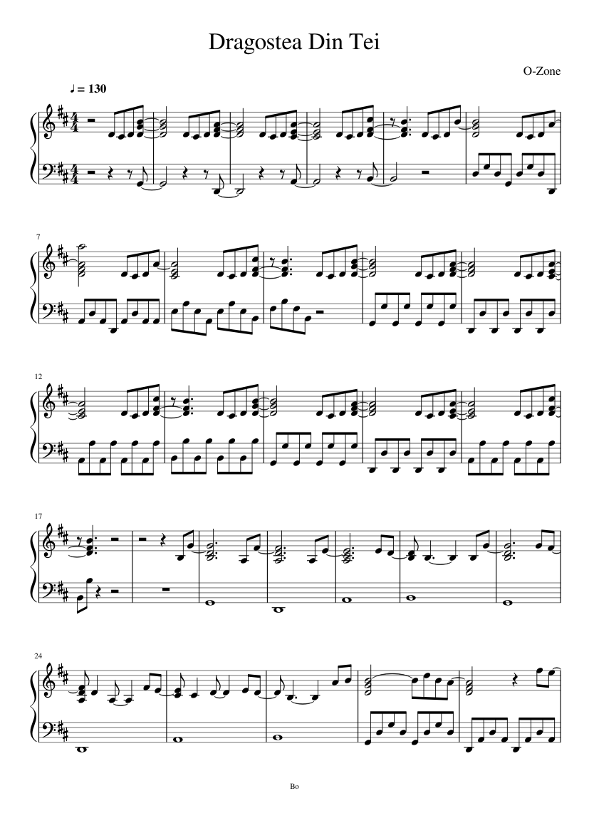 Dragostea din tei (numa numa) piano sheet music for piano.