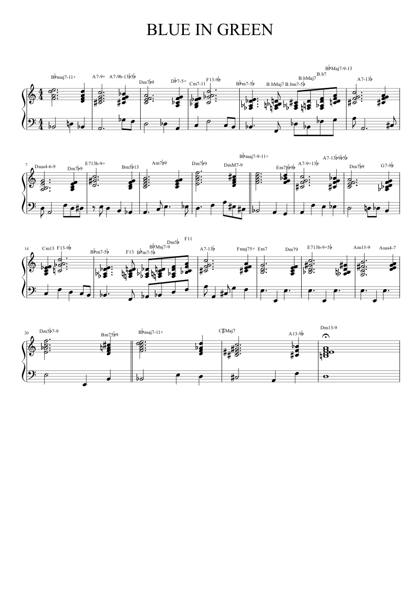 blue in green music sheet | download free music sheet today  test.webdesign-studio.it