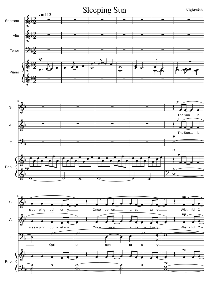 Sleeping sun (cover) sheet music for piano download free in pdf or.