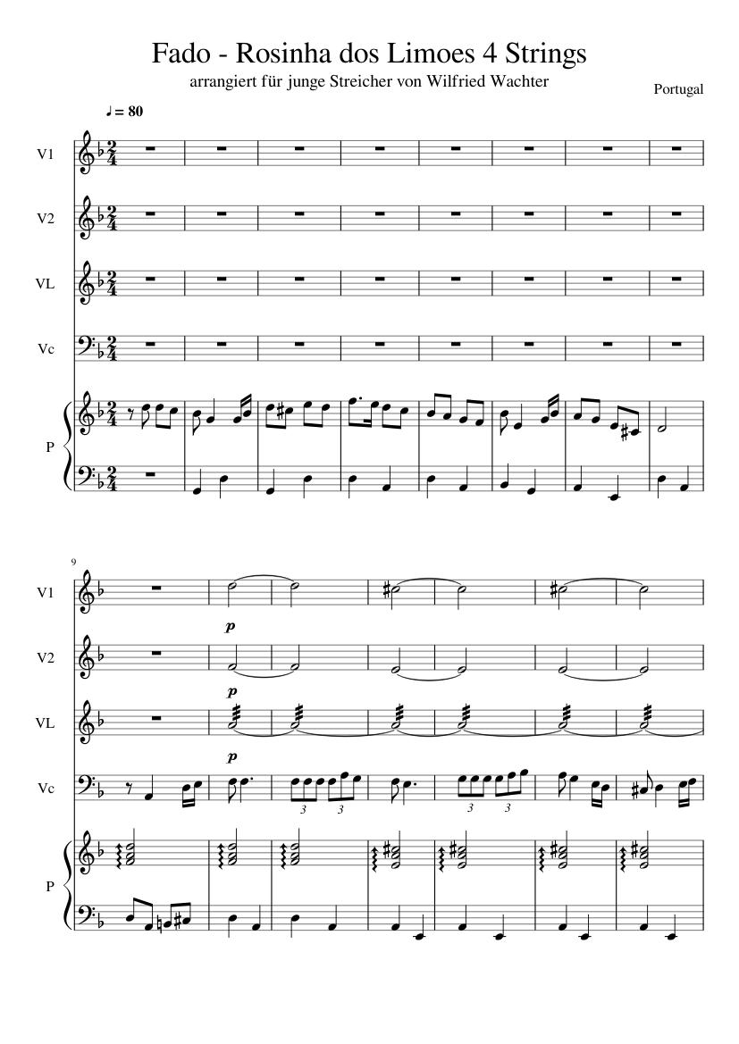 Fado - Rosinha dos Limoes 4 Strings sheet music for Violin