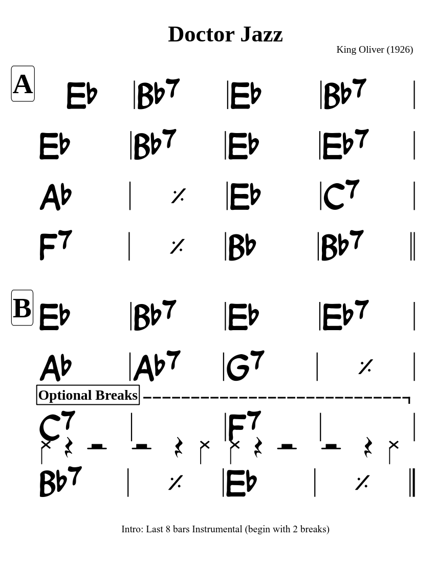 Doctor Jazz Chord Chart
