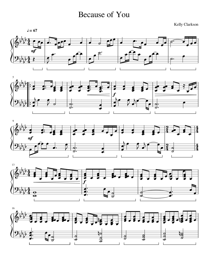 because of you kelly clarkson sheet music free