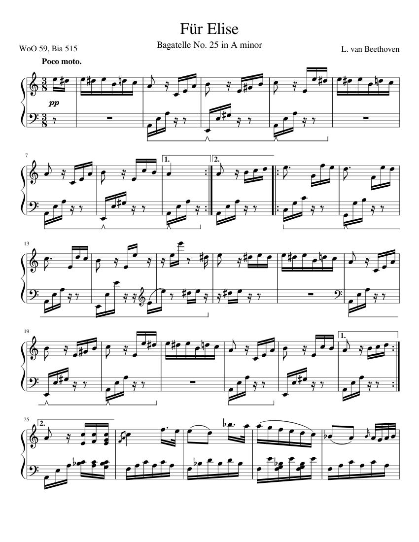 Sheet music fur pdf piano elise