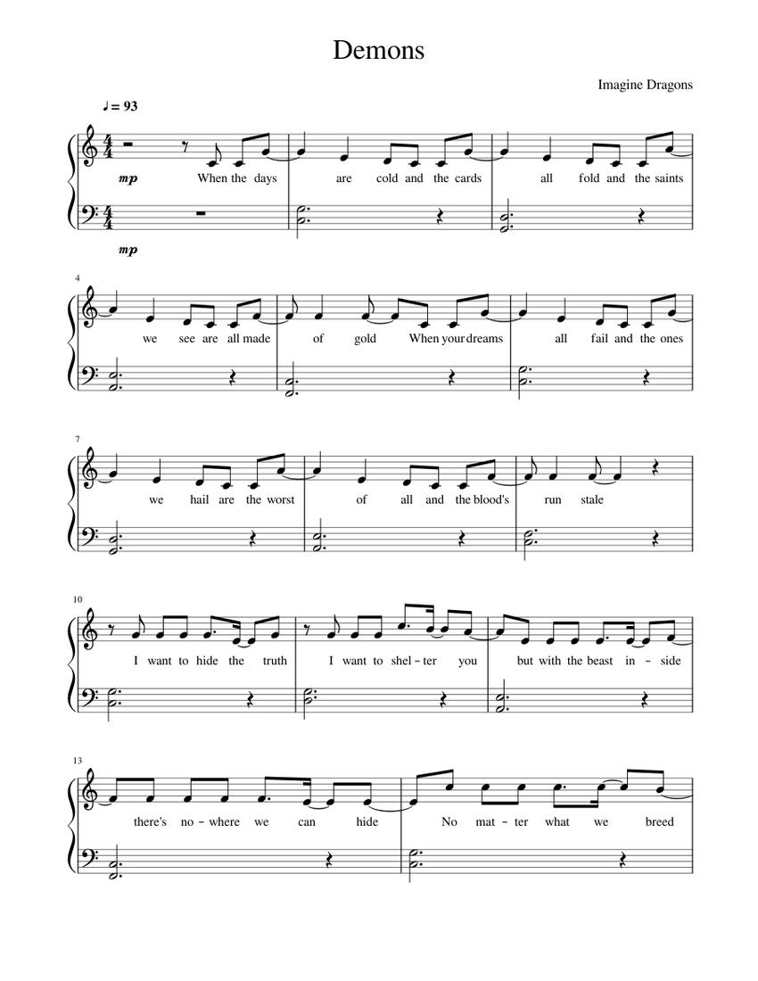 Demons ~ Imagine Dragons [Easy version] Sheet music for ...