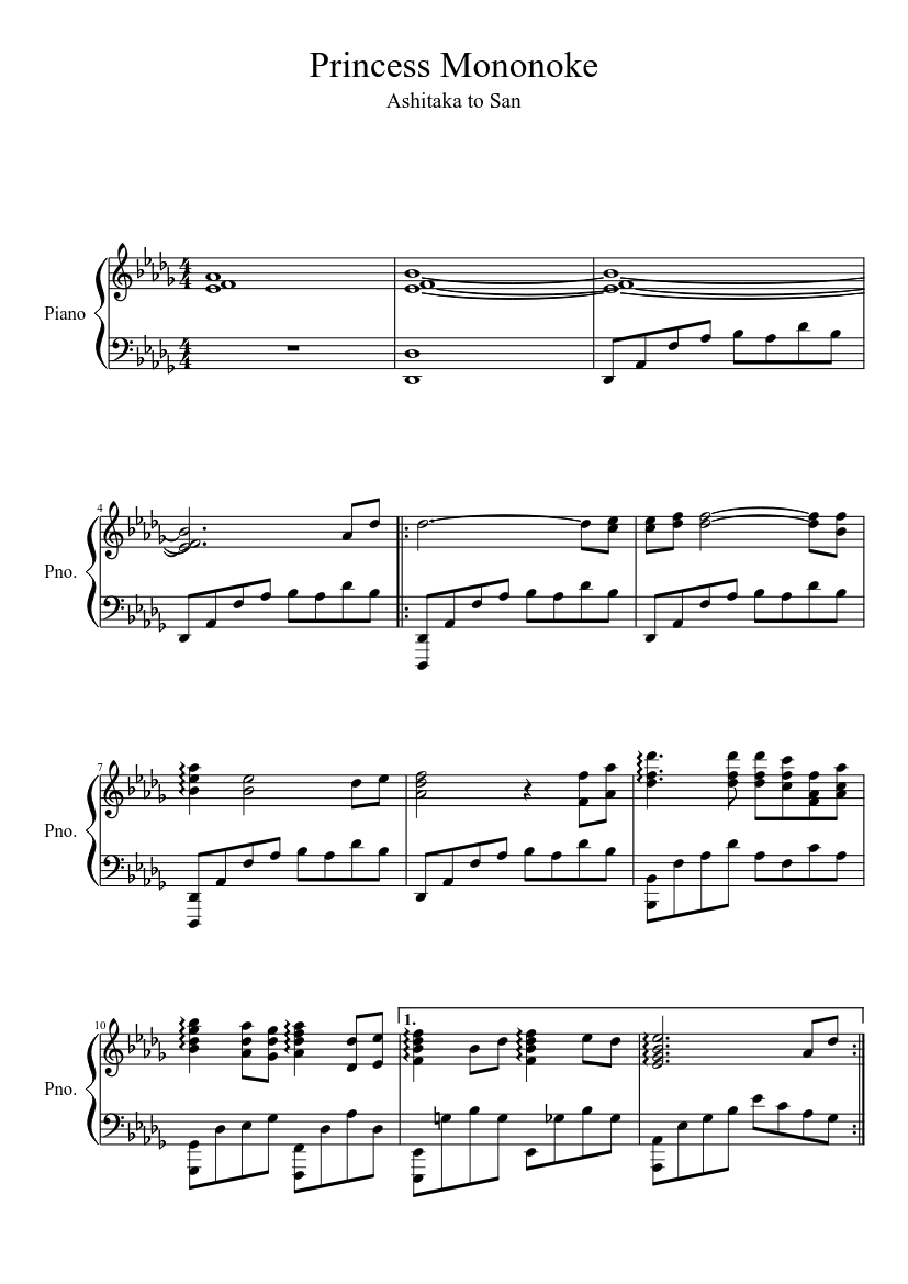 Princess Mononoke sheet music  – 1 of 4 pages