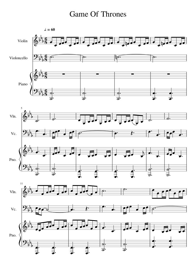 Game Of Thrones Titelmusik Klaviernoten game of thrones piano trio sheet music for violin, piano