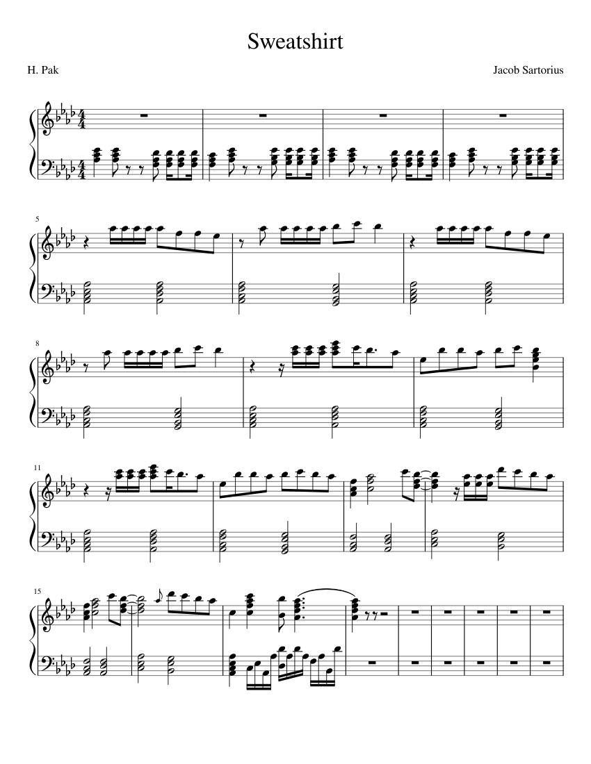 Sweatshirt (piano arrangement) W.I.P Sheet music for Piano (Solo ...