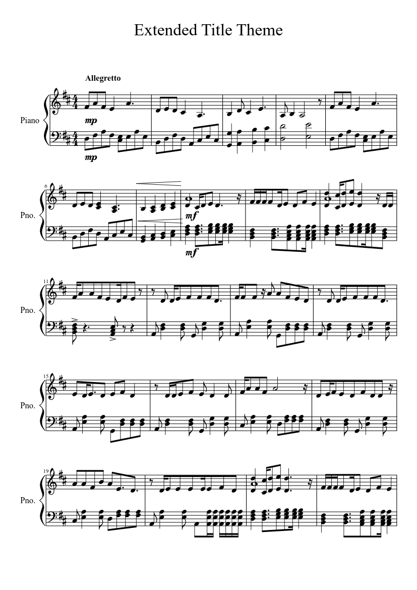 My Little Pony Friendship Is Magic Extended Title Theme Sheet Music