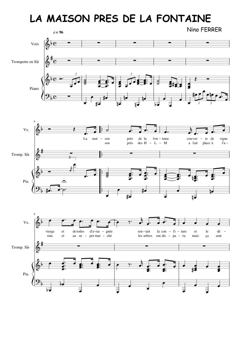 La Maison Près de la Fontaine Sheet music for Piano, Trumpet (In B