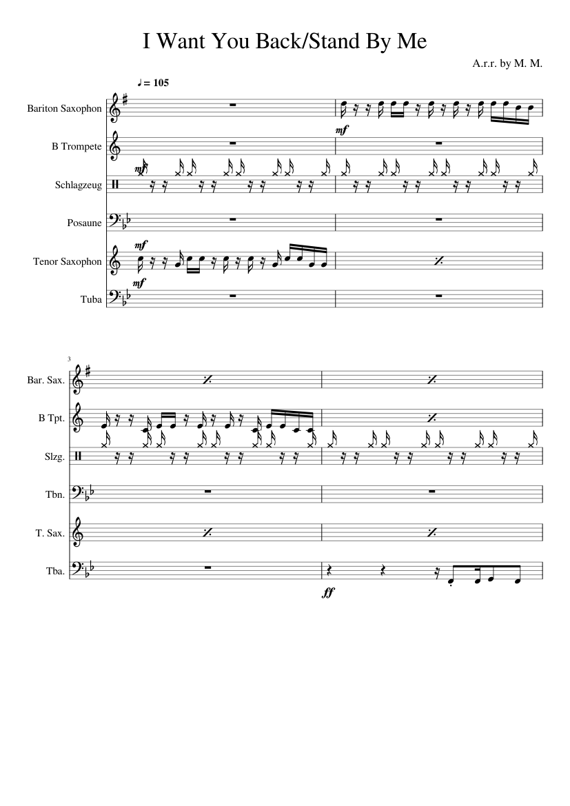 I Want You Backstand By Me The Lucky Chops Sheet Music For
