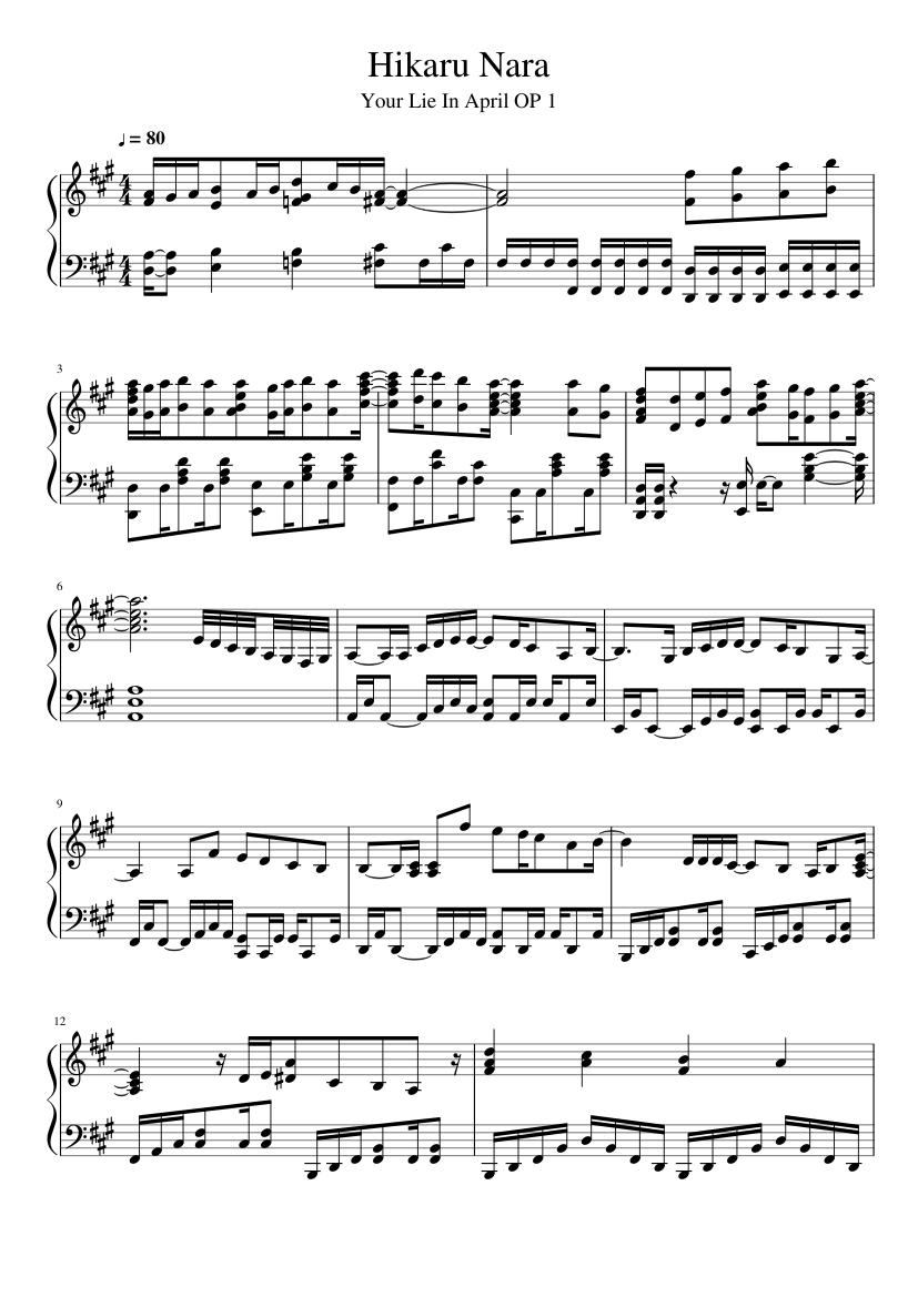 Hikaru Nara Your Lie In April Sheet Music For Piano Solo Musescore Com