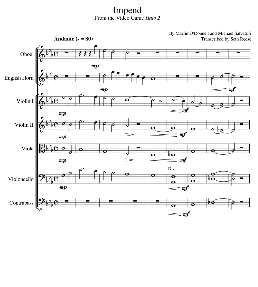 Halo 2: epilogue (promise the girl) sheet music for strings.