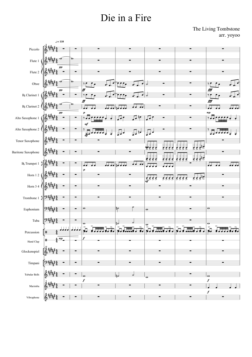 Die in a Fire (Band Arrangement) sheet music for Flute, Clarinet
