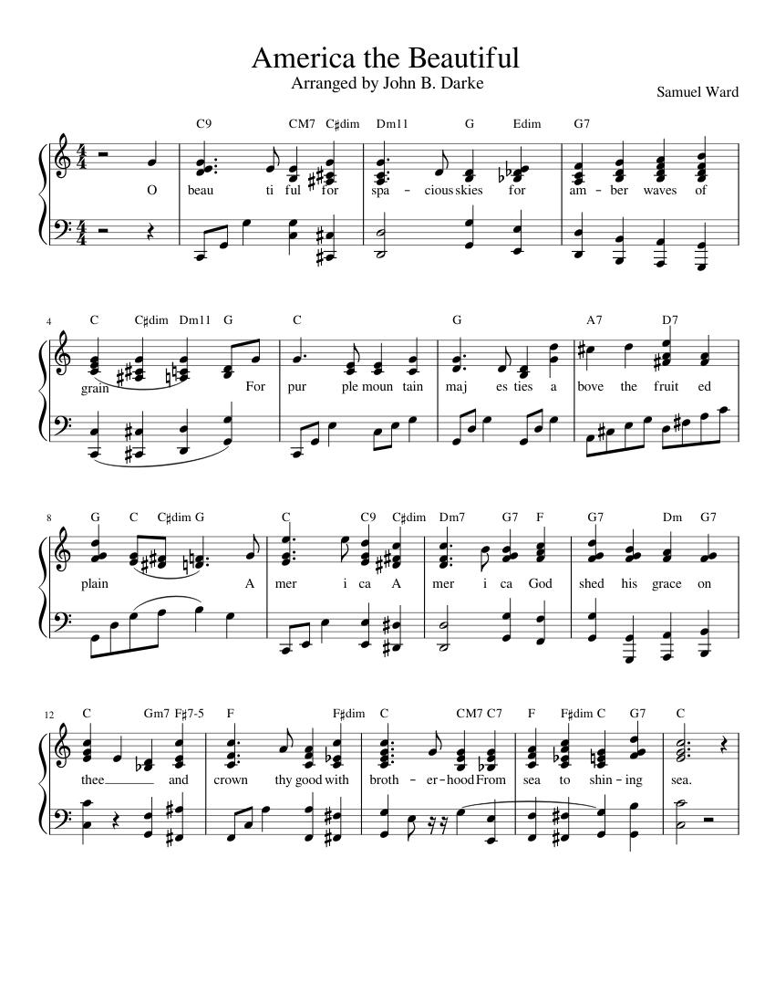america the beautiful sheet music for piano (solo) | musescore.com  musescore.com
