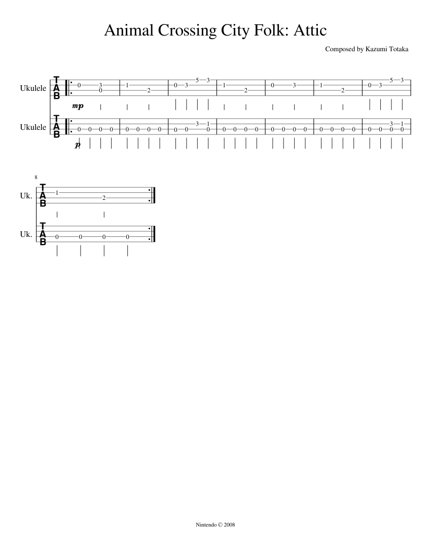 Animal Crossing City Folk Attic Sheet Music For Ukulele Solo Musescore Com
