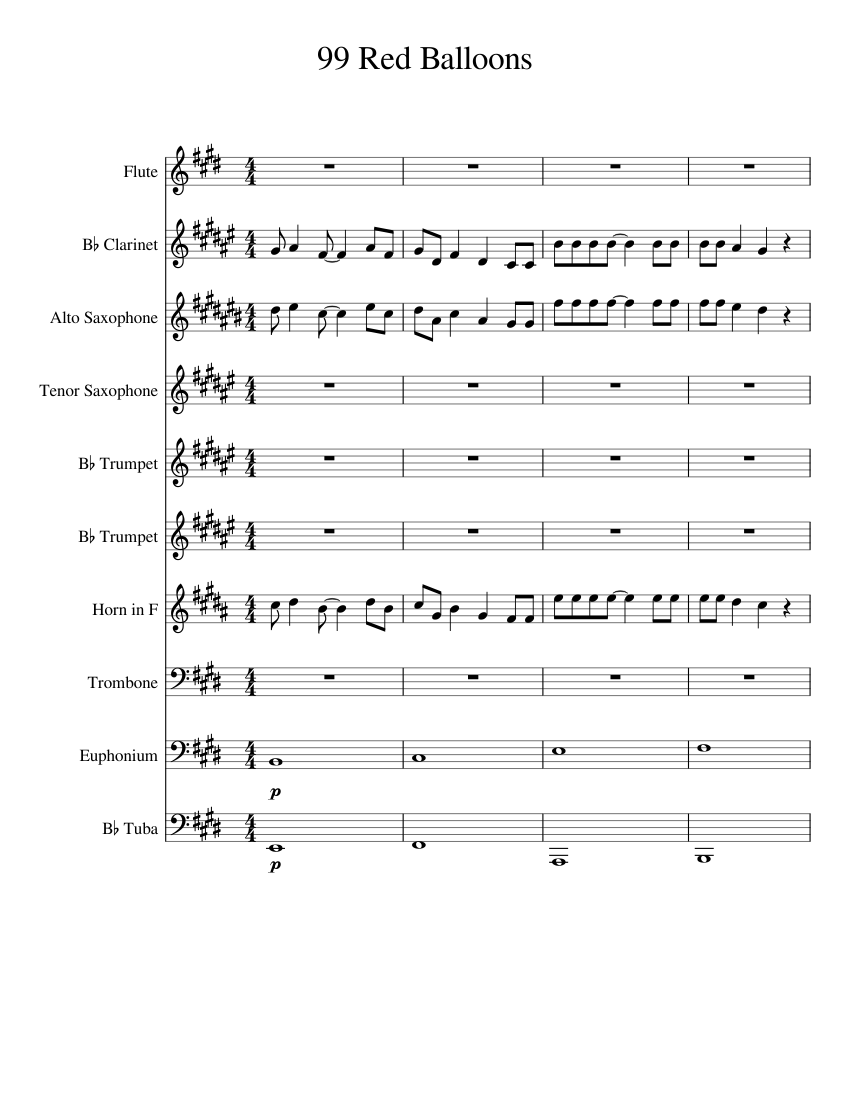 99 Red Balloons WIP Sheet Music For Flute Clarinet Alto