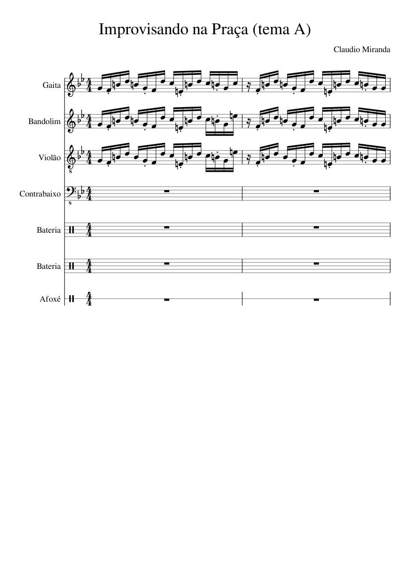 9264e13045 Improvisando na Praça (tema A) sheet music composed by Claudio Miranda – 1  of