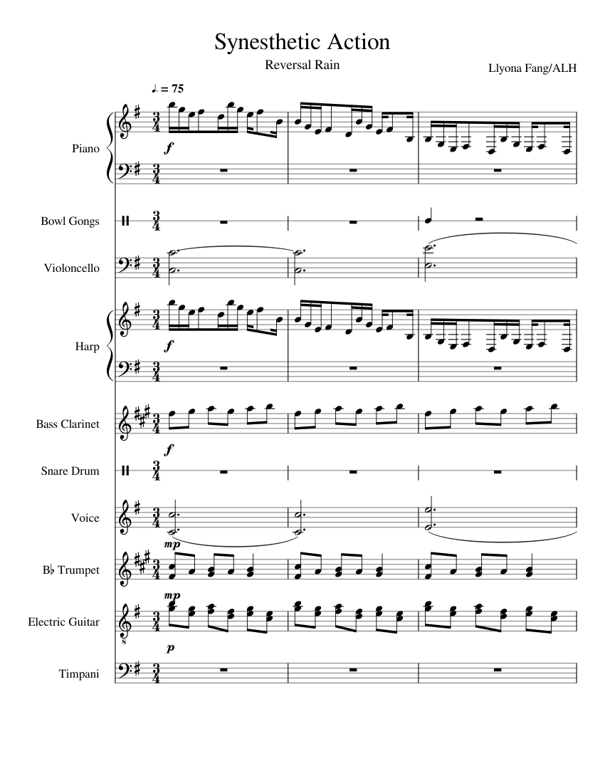 synesthetic action sheet music for piano, trumpet (in b flat), cello,  vocals, guitar (mixed ensemble)   download and print in pdf or midi free sheet  music (rock )   musescore.com  musescore.com