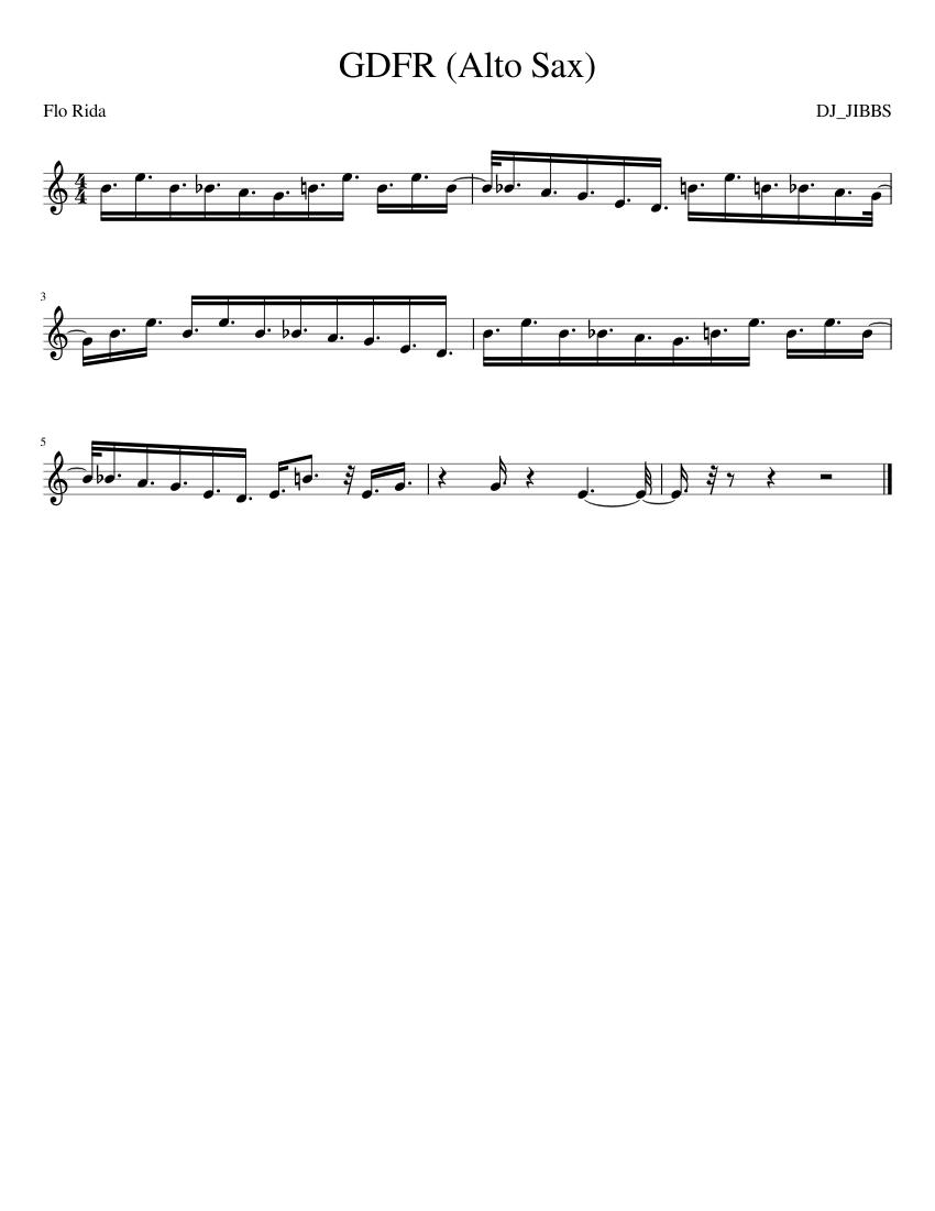 Gdfr flo rida sheet music for flute, clarinet, alto saxophone.