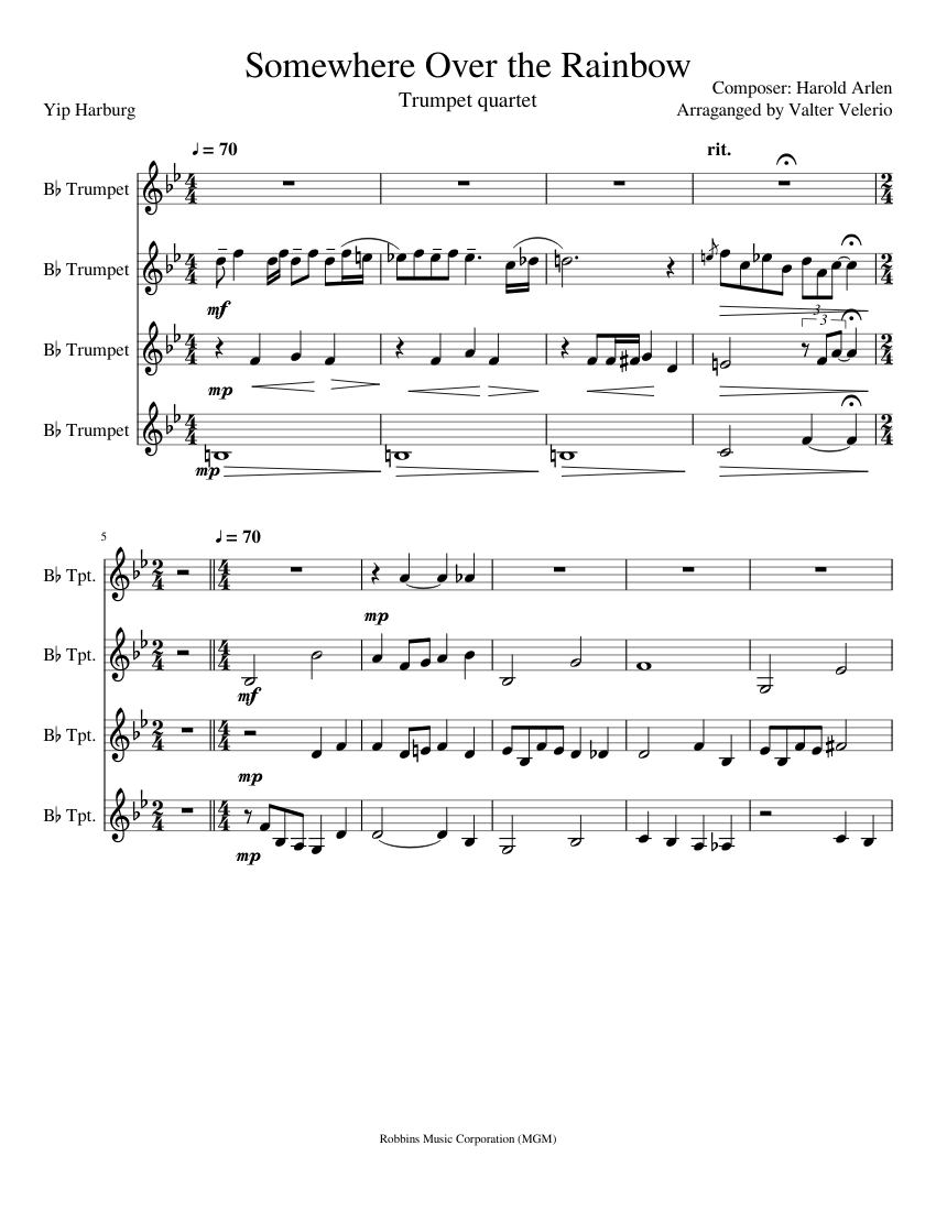 somewhere over the rainbow sheet music