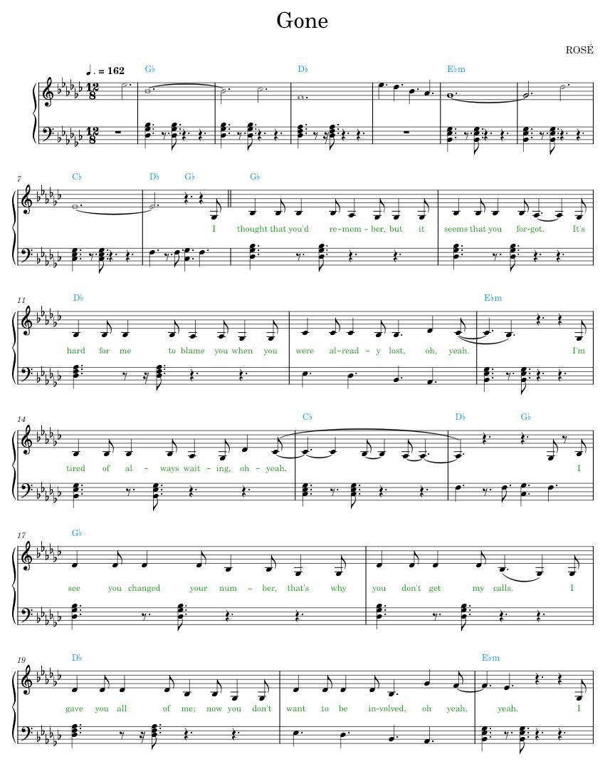 piano sheet music: 🩸 rose — gone piano sheet music  piano sheet music
