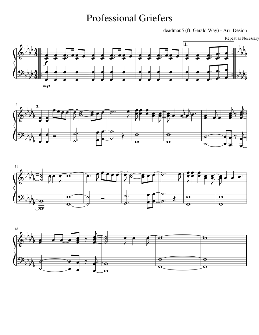 deadmau5 (ft  Gerald Way) - Professional Griefers sheet music for