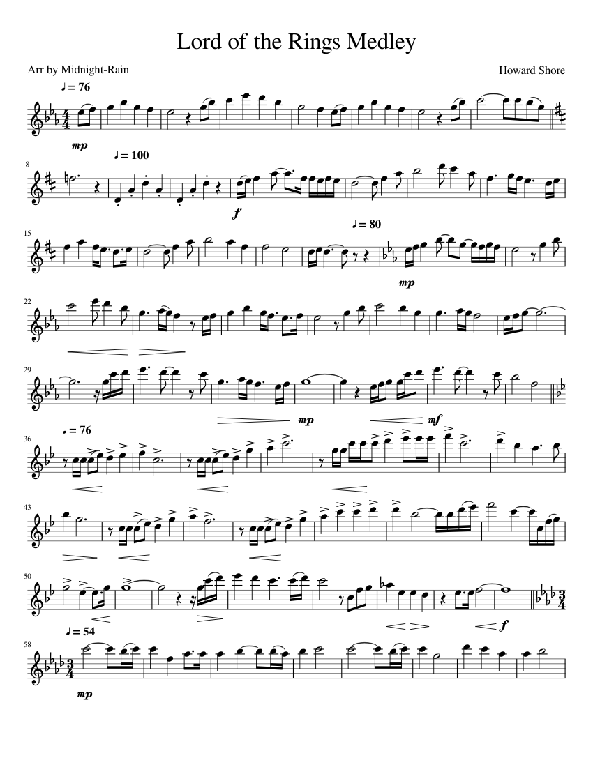 Lord Of The Rings Sheet Music Pdf