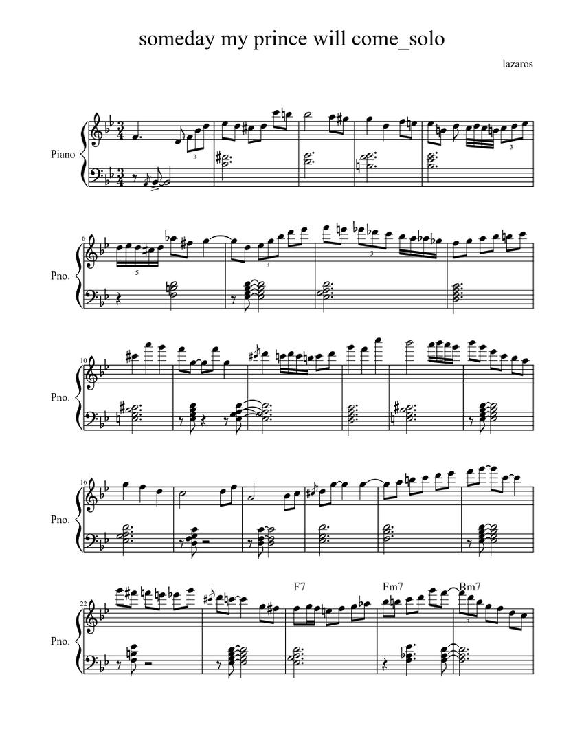 Someday My Prince Will Come Piano Solo Sheet Music For Piano Solo Musescore Com