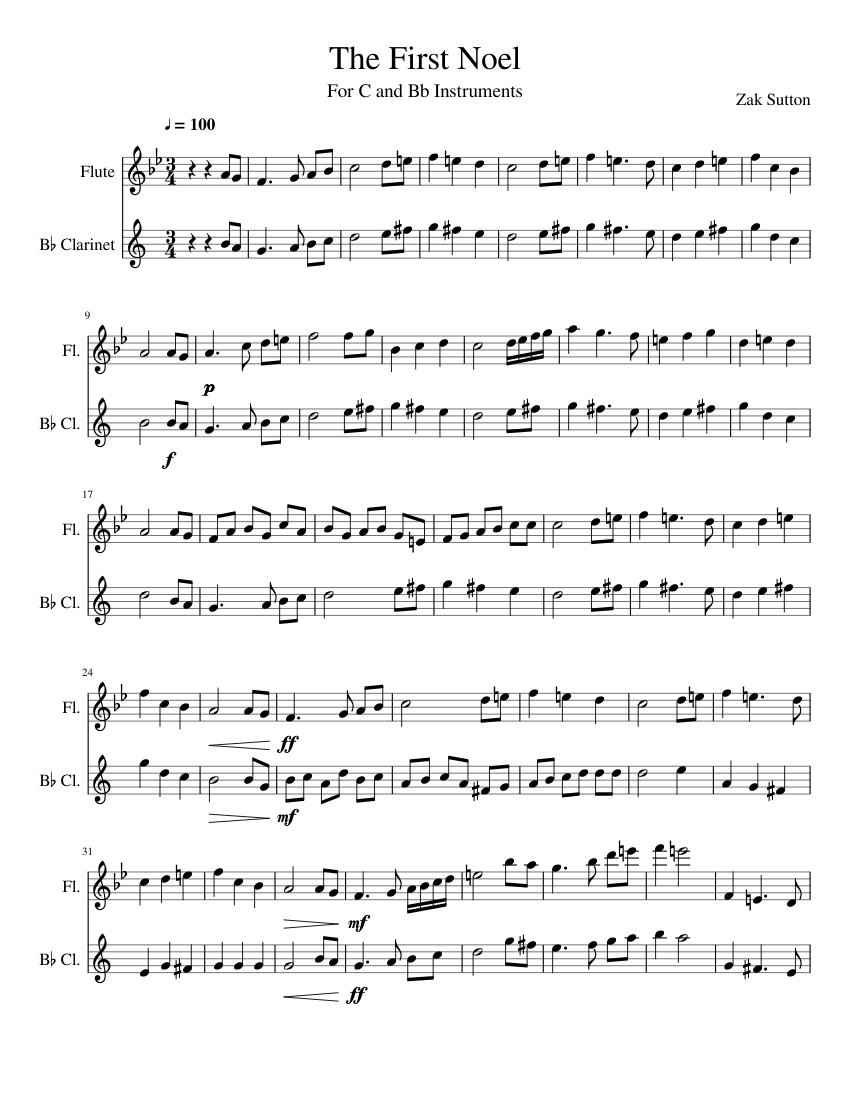 The First Noel Flute And Clarinet Sheet Music For Flute Clarinet