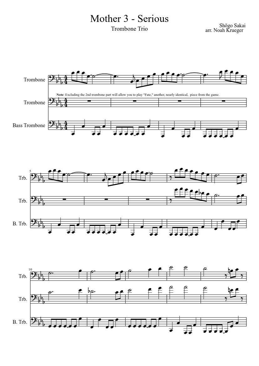 Mother 3 - Serious (Trombone Trio) sheet music download free in PDF