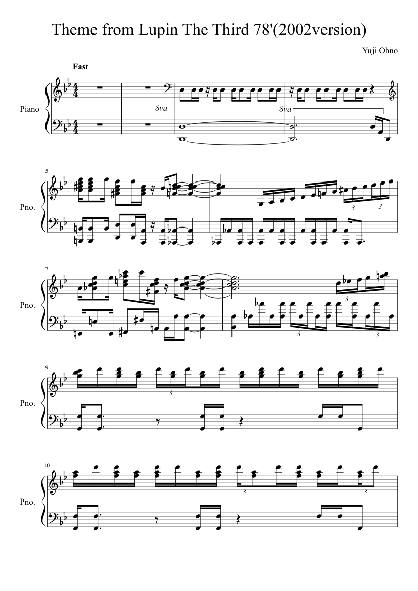 Theme from Lupin The Third 78'(2002version) sheet music composed by Yuji Ohno – 1 of 9 pages