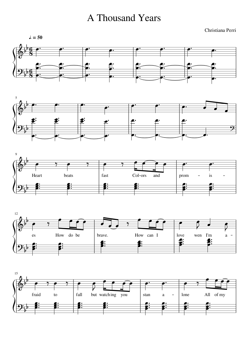 A thousand years lead sheet sheet music for piano download free in.