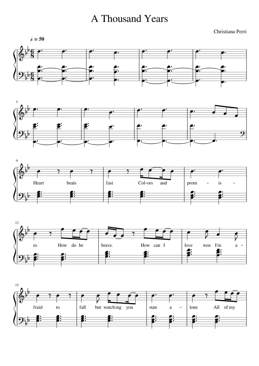 A Thousand Years Sheet Music For Piano Solo Musescore Com