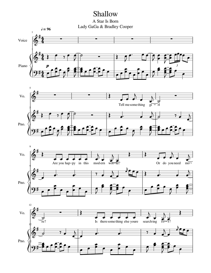lady gaga - shallow [piano/vocal] sheet music for piano, vocals (piano-voice)  | musescore.com  musescore.com