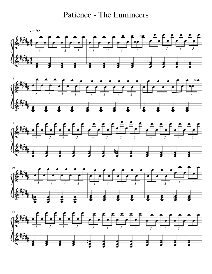 Patience The Lumineers Sheet Music For Piano Download Free In Pdf