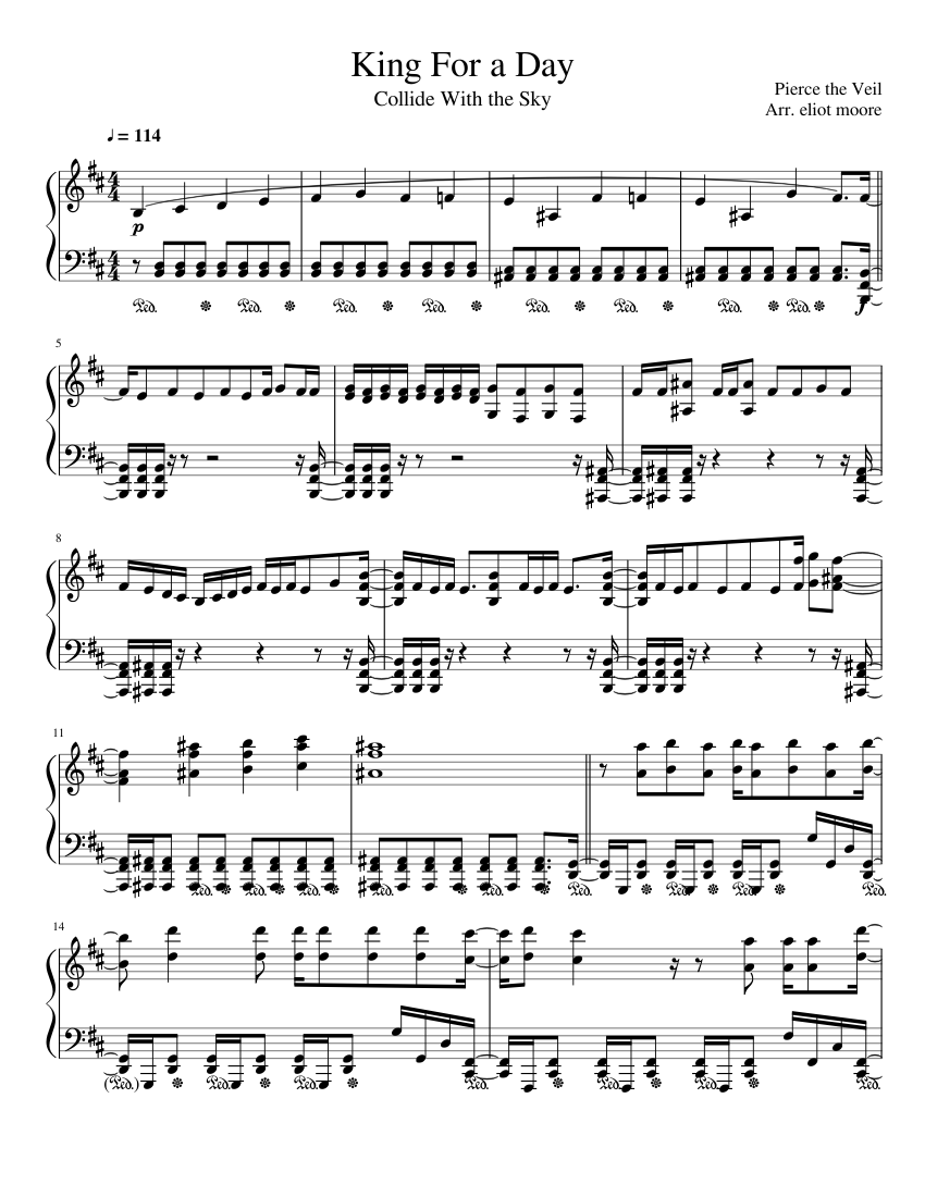 King For A Day Pierce The Veil Sheet Music For Piano Solo Musescore Com