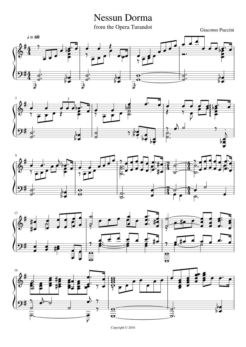 nessun dorma sheet music for piano (solo) | musescore.com  musescore.com