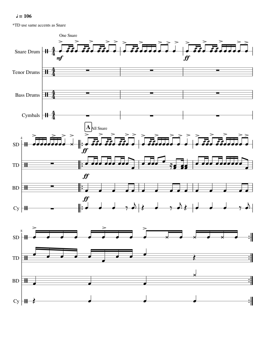 marching cadence sheet music for percussion download free in pdf