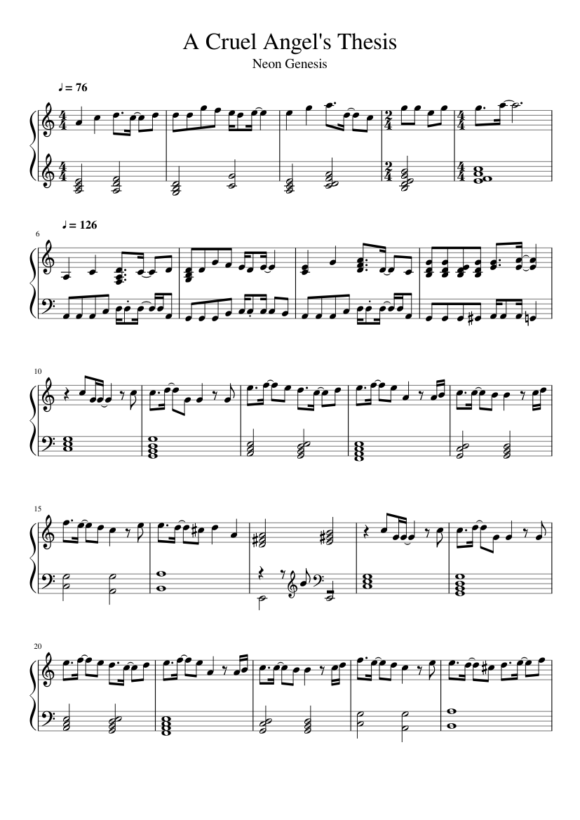 evangelion cruel angel thesis piano sheet music