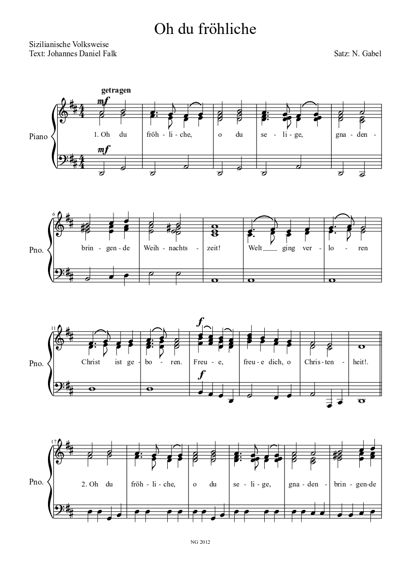 Oh du fröhliche sheet music download free in PDF or MIDI