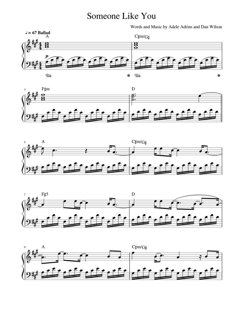 Someone Like You easy piano Sheet music for Piano Solo ...