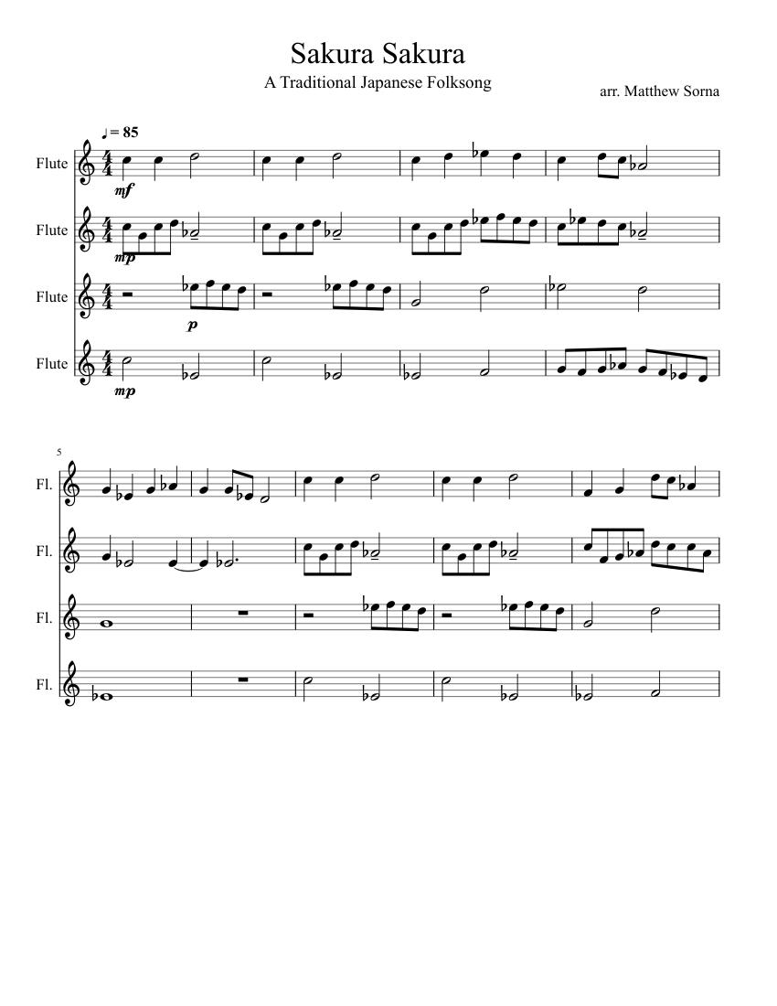 Sakura sakura (sheet music + mp3) | music for ballet class.