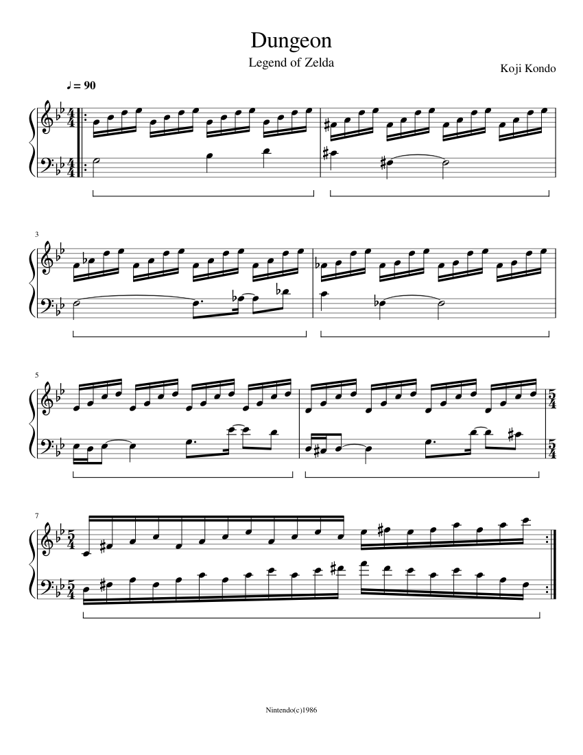 Dungeon sheet music for Piano download free in PDF or MIDI
