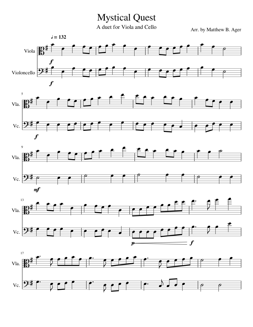 mystical quest sheet music for cello, viola (string duet)   download and  print in pdf or midi free sheet music   musescore.com  musescore.com