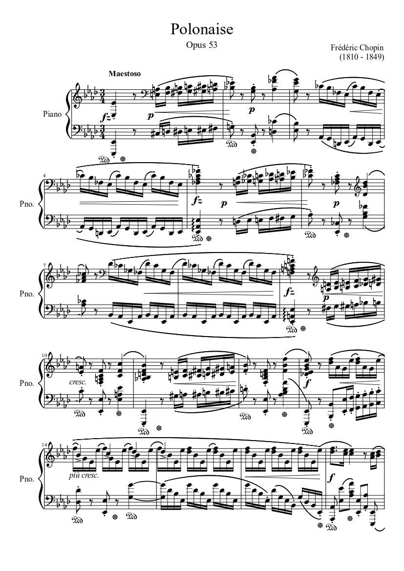 Piano tutorial sheet chopin polonaise in ab major op 53 hd.